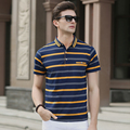 High quality summer men's classic contrast colors stripes business casual polo shirt