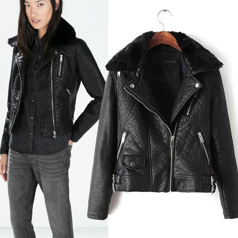 Popular Thick Black Leather Jacket Women-Buy Cheap Thick Black