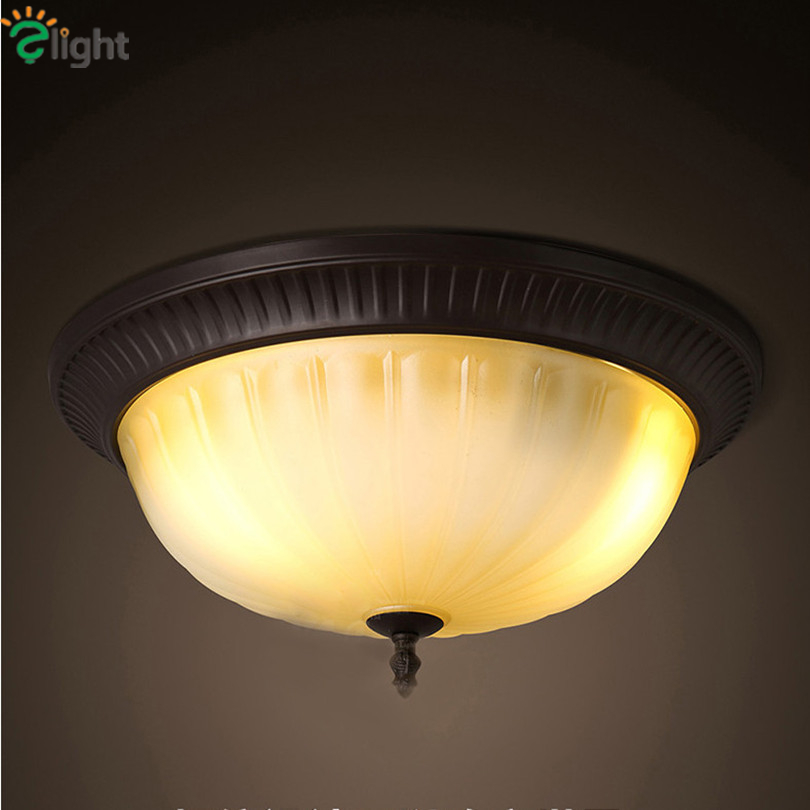 American Retro Round Iron Led Ceiling Lights Lustre Frosted Glass Bedroom Led Ceiling Lamp Dining Room Ceiling Light Fixtures american retro iron e27 led ceiling lights lustre glass bedroom led ceiling lamp balcony led ceiling lighting light fixtures