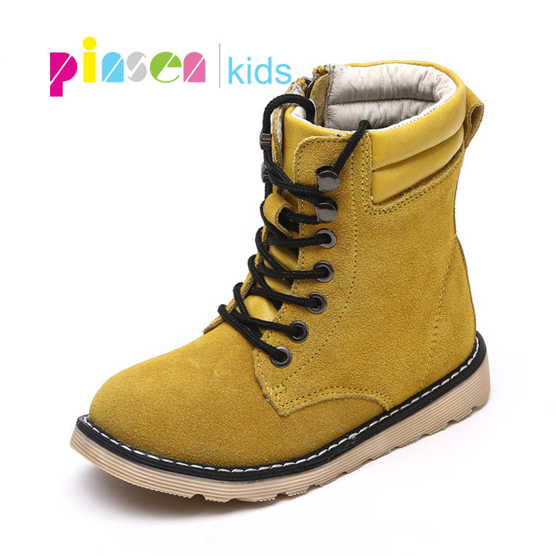 2018 Winter Fashion Leather Kids Shoes girls snow boots Children shoes warm plush soft bottom girls boots snow boots for girls