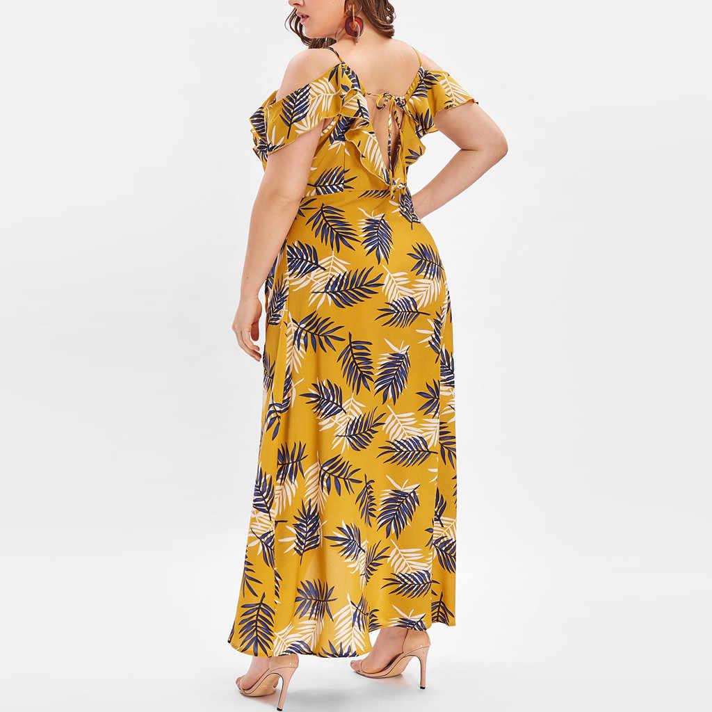 JAYCOSIN Women's Plus Size Bohemian Yellow Dress V-neck Casual Bohemian Off-Shoulder Ruffled Banded Long Dress Dropship Z0530