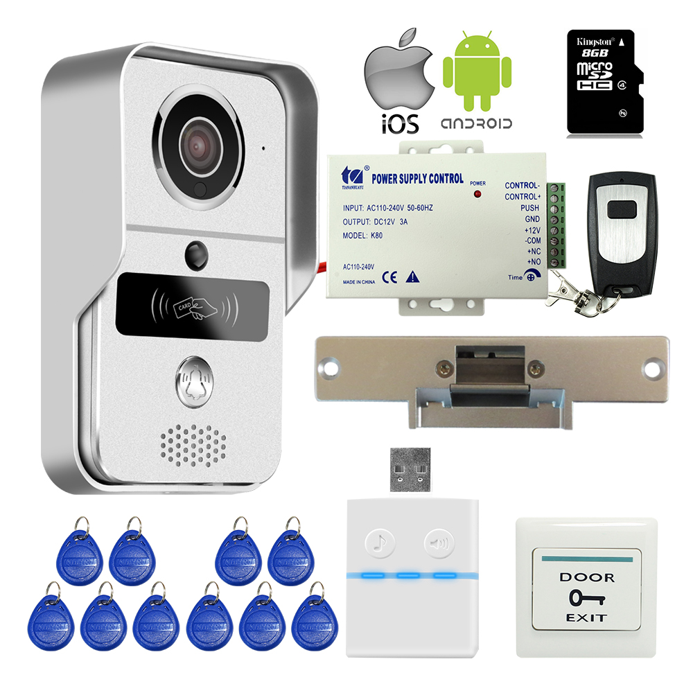 Free Shipping Wireless Wifi IP RFID Doorbell Camera Video Intercom For Phone PC Remote View Unlock + Strike Door E-Lock + 8G TF