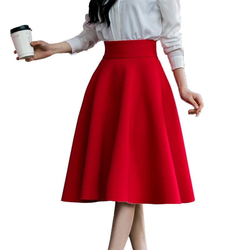Юбка Женская средней длины, с завышенной талией, до колен, розовая, черная, красная, синяя, 2019