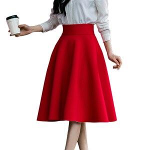 Image 1 - Faldas de talla grande hasta la rodilla para mujer, faldas de talle alto, plisadas, color blanco, rosa, negro, rojo y azul, 2019