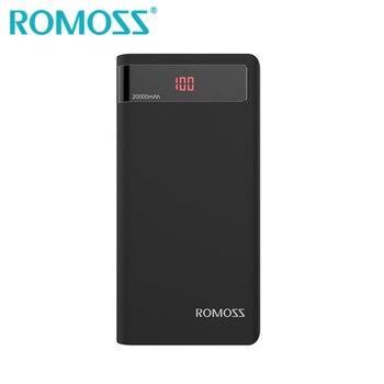 ROMOSS Black Power Bank 20000mAh External Backup Battery Powerbank 2.1A USB Output Portable Charger for Mi iPhone Huawei Samsung