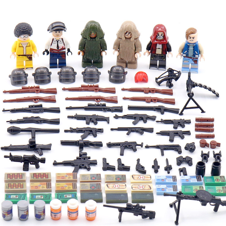 2018 NEW PUBG FPS Game Ghillie Suit MILITARY Winner Winner Chicken Dinner A3 K98K Model Building Blocks Figures Toys Boys Gifts tank