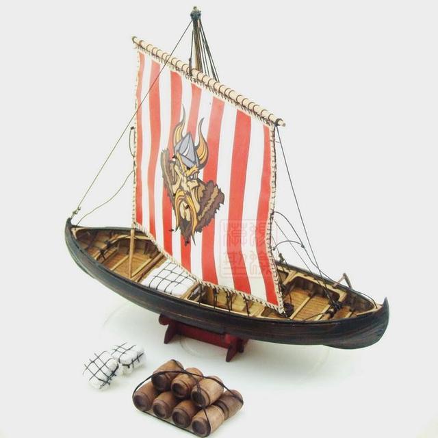 New Scale 172 Viking Knarr Model Ship Laser Cut Wood Sailboat Children Education Toys
