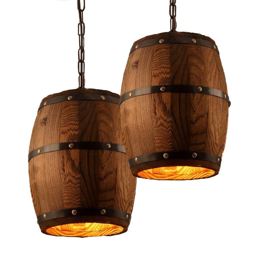 Antique Wood Wine Barrel Pendant Lamp Hanging Rustic Unique Kitchen Bar Ceiling Lamp Light Fixtures паркетная доска baltic wood дуб rustic light brown 2200x182x14 мм