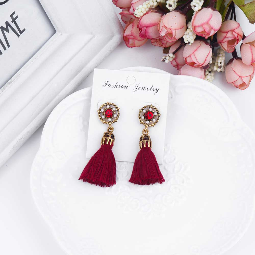 Tomtosh Vintage Earrings For Women Jewelry Bright Brick Earrings Flower  Ancient Long Tassel Drop Earrings Dangle