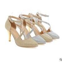 Fenimina Glitter Elegant Crossing Buckle strap Pointy toe Thin High heels Sandals Super Star Plus size 34 43 Pumps Stiletto Gold
