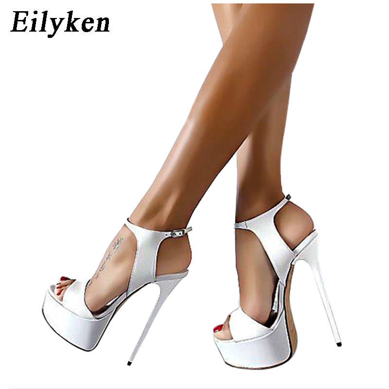 Eilyken Women <font><b>Sandals</b></font> Gladiator Party Ankle Strap Patent Leather Concise Ultra Very <font><b>High</b></font> <font><b>heel</b></font> Pumps 16CM Fetish <font><b>Sandals</b></font> shoes 46 image