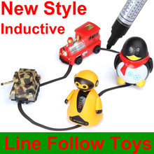 Magical Track Toys Induttivo Penguin Car Model With Light Seguente dalla linea Disegna Mini Kid's Toy FSWOB