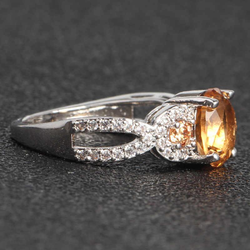 14K gold yellow Topaz diamond Rings 14k White Gold Diamond Jewelry Anillos De Wedding Bizuteria for Women peridot jade Ring