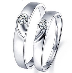 925 Sterling Silver Platinum Plated Ring Heart Shaped Couple Rings