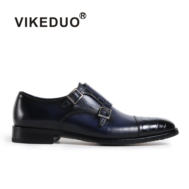 VIKEDUO Handmade vintage Male Genuine Leather luxury Double Buckle wedding party dress shoes original design Men's monk shoes