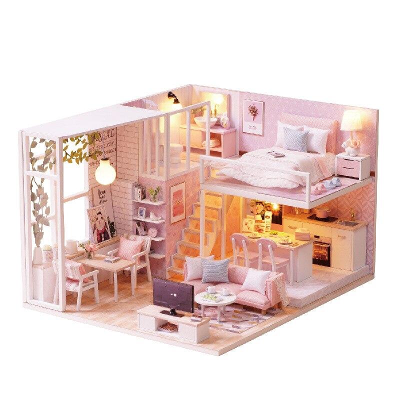Bricolage modèle maison de poupée meubles Miniature maison de poupée cache-poussière en bois maison de poupée maison lumineuse pour poupées jouets pour enfants cadeau
