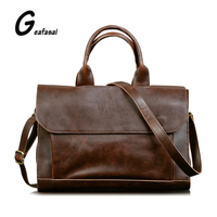 Man Leather Solid Brown Vintage Simple Handmade Laptop Briefcase Business Computer Top Handle Messenger Shoulder Bags