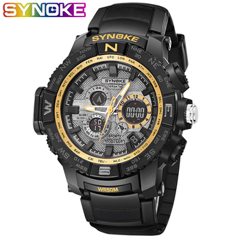 SYNOKE Luxury Brand Mens Sport Digital Watch Stainless Steel LED Date Alarm Waterproof Sports Army Quartz Electronic Watches