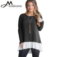 Avodovama M סלסולים טלאי שרוול ארוך סוודר אופנה חדש O-צוואר נשים חולצות