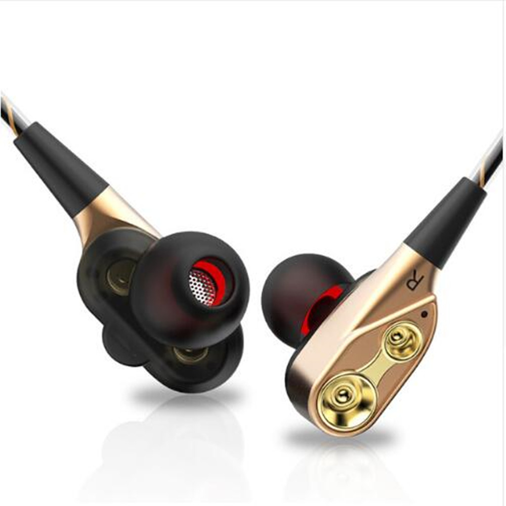 New V2 HIFI Stereo Bass Earphone Double Dynamic Earbuds Dual Driver Earphones Sport Headset With Microphone For Android metal wired earphone high bass dual drive hifi in ear earphones with microphone sport headset earbuds for iphone xaiomi samsung