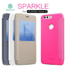 Новинка 2017 Оригинальный Nillkin Sparkle Leather Case для Huawei Honor 8 официальный флип чехол защитный чехол Капа для Huawei Honor 8