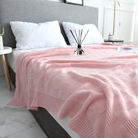 Soft Pink Gray Knitted Blanket on for Sofa Couch Travel/Bed Cover /Car Decorative Portable Plaids Aircondition Bedspread Throw