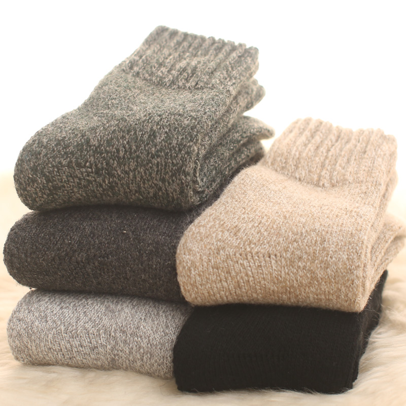 1Pair Merino Wool Fall And Winter Plush Warm Men Socks Thicker Cotton Wool Loop Dress Socks Men Towels Plush Slacky  Winter