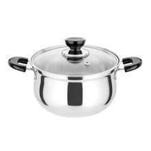 20cm Diameter Korean Style Thickened Stainless Steel Cooking Pot With Glass Cover Dual Handles Cookware Sauce Pot