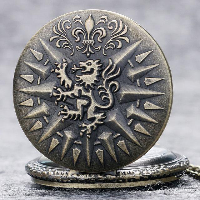 Antique Bronze  Dragon Pendant Pocket Chain Men Women Quartz Watch
