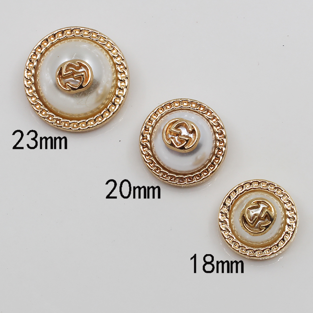 Fashion 5pc Mix Size Shank Pearl Button Golden Metal Handmade Sewing Jacket Sweater Windbreaker Apparel DIY Wedding Decoration