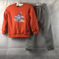 3 7 Years Girls Velvet Clothing Set Kids Baby Boy Orange Clothes Casual Sports Outfit Coats