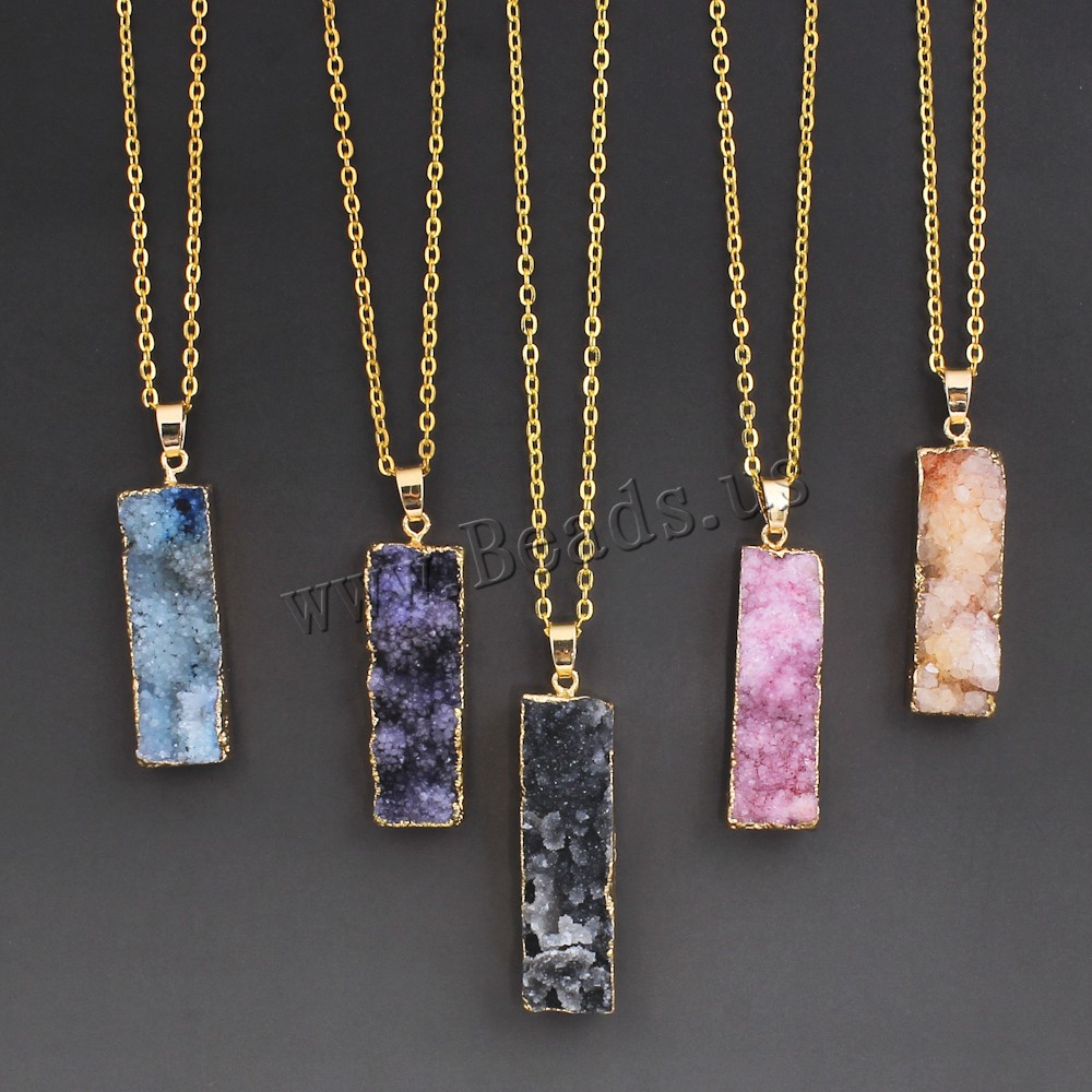 Women 39 s colorful natural stone necklace pink quartz druzy for How to make rock jewelry