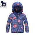 New 2015 Girls Winter Coat Kids Outerwear Children's Thick coat  Jackets for baby girls Children's  clothing for 100-140CM,