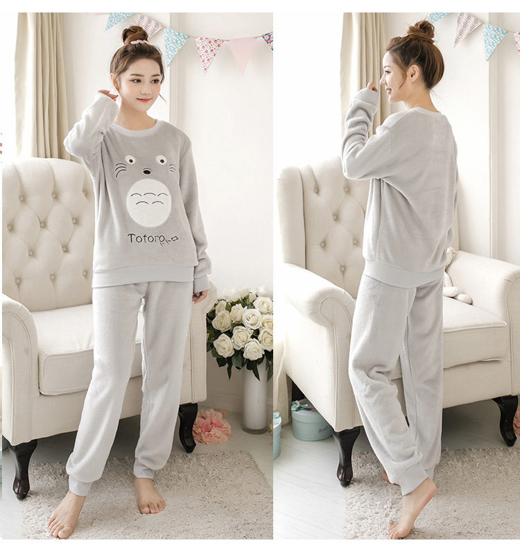 Women pajamas set Women Pyjamas Thick Flannel Cute Sheep Female Warm Winter Pajama Set Long Sleeve Full Trousers Two Piece 2019 72
