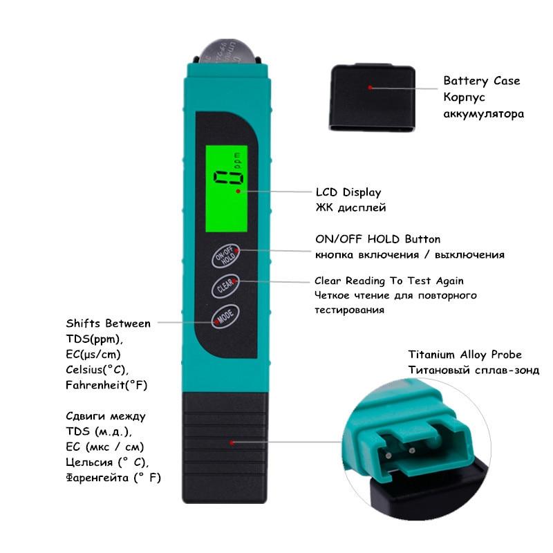 Medidor TDS EC Medidor de temperatura bolígrafo 3 In1 Función - Instrumentos de medición - foto 5