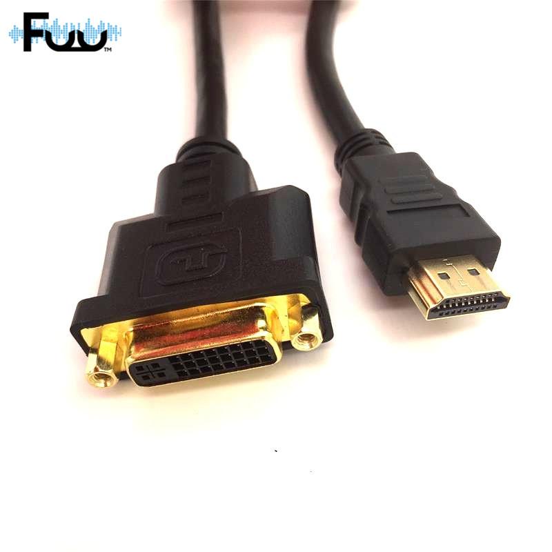 высокая скорость кабель HDMI/DVI и адаптер 0.3 м позолоченные разъем HDMI мужской к DVI и женский чистый медь кабель для 1080 р HD высокой четкости HD ПК Xbox hzsp094