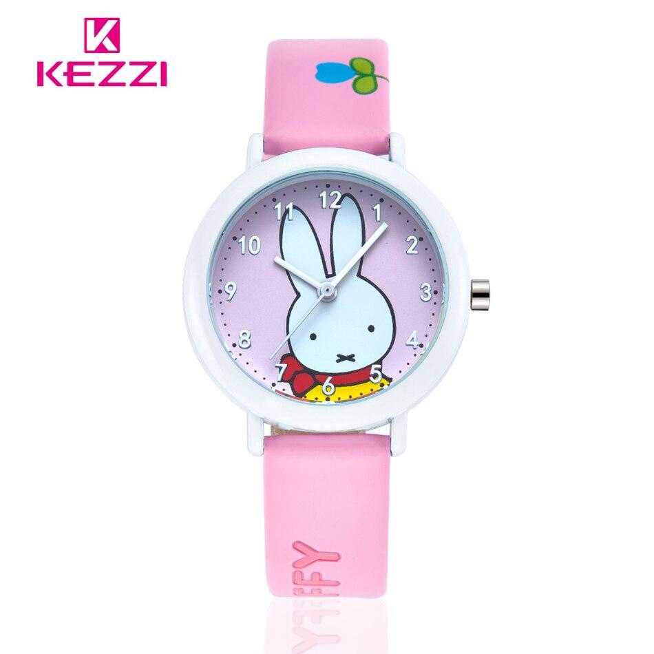 Brand KEZZI Life Waterproof Student Cartoon Watch Analog Display Leather Strap Wrist Watch Rabbit Pattern Quartz