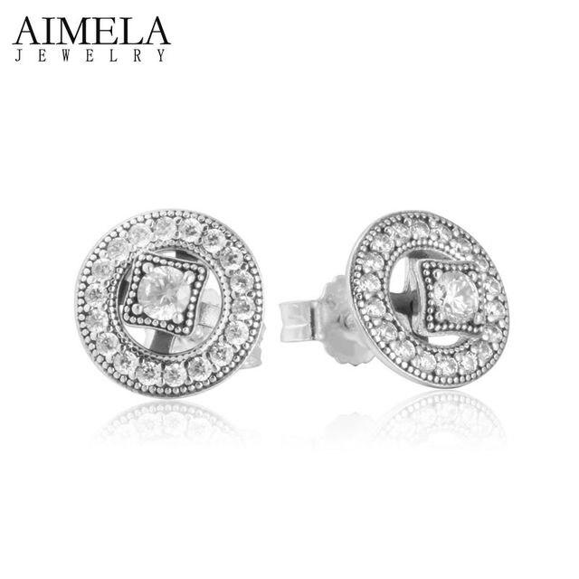 AIMELA 2016 New Vintage Allure AAA CZ Diamond Earrings 925 Sterling Silver Stud Earrings For Women Wedding Fashion Jewelry