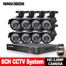 8CH CCTV System 960P 720P HDMI AHD 8CH CCTV DVR 8PCS 1.0 MP IR Security Camera 1200 TVL CCTV Camera System Kit