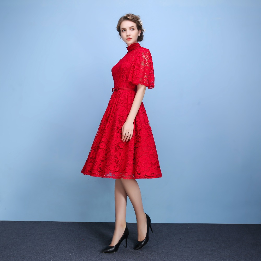 Fashion Red / Black Butterfly Sleeves Evening Dress Three ...