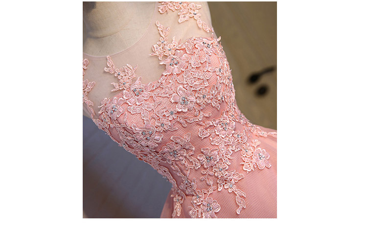 Short Evening Dress 2018 Sweet Pink O-neck Lace Ball Gown New Bride Party Formal Dress Custom Homecoming Dresses Robe De SoireeC 6