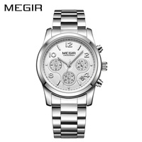 MEGIR Women quartz Chronograph watch Rose Gold Steel Band Bracelet watch waterproof fashion women dress watch relogios feminino