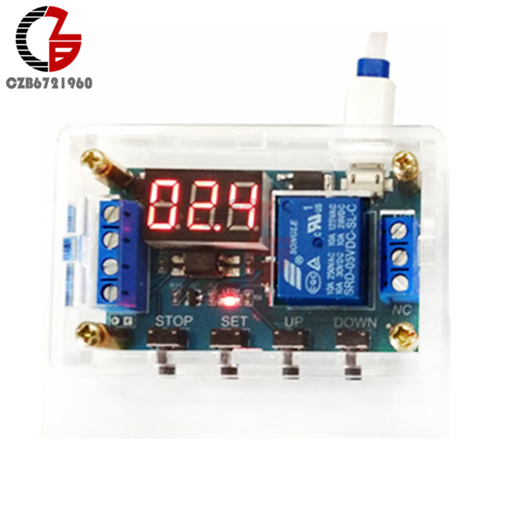 DC 5V 12V 24V 1 Channel LED Digital Time Delay Relay Module On/Off Trigger Delay Cycle Timing XY-J03 Timer Switch + Shell Red