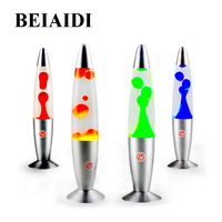 BEIAIDI 25W Rocket Metal Base Lava Lamp 33CM Creative Wax LED Night Light Jellyfish Dazzling Lava