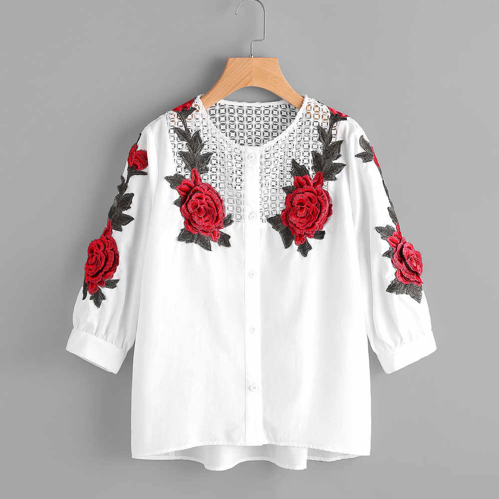 c84fc9ed79cd1b Trendy Style Embroidered Blouse Women 2019 Autumn Ladies Long Sleeve Casual  Loose Shirts White Rose Flower