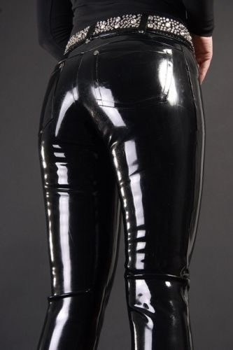 100% Latex Rubber Black Stylish Unique Fashion Pants Size XS~XXL