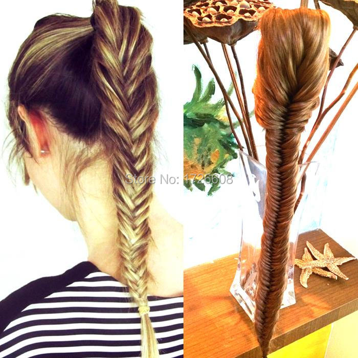 New Styling Clip On Synthetic Fishtail Plait Ponytail Long Fishtail