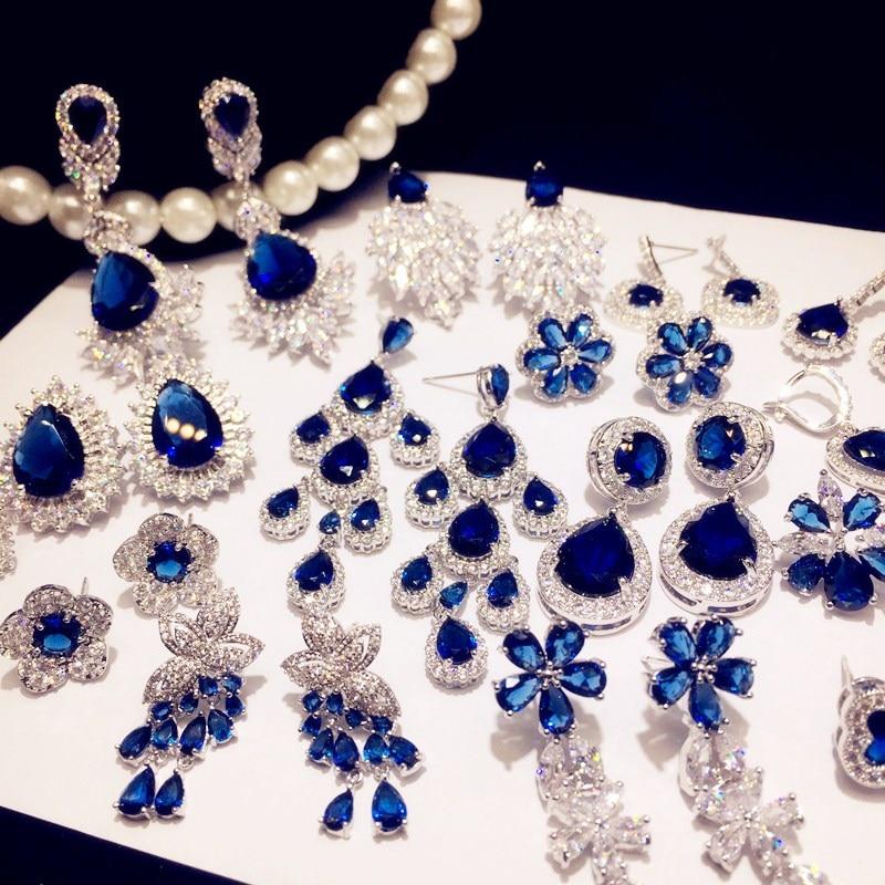 Vintage Drop Earrings For Women 925 Silver Sapphire Luxury Bricnos Blue Cubic Zirconia Temperament Earring Fine Jewelry