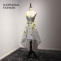 Fashion Real Photo High Low Prom Dresses 2017 Vestido De Festa Embroidery Prom Dress Vestidos De
