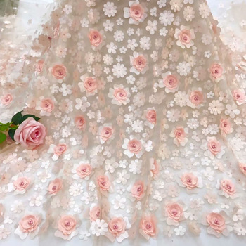 3D Big Flowers High Quality African Lace Fabric Handwork Beads Pattern Embroidered French Applique Lace Fabric Cloth For Wedding